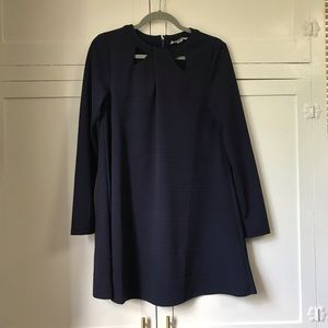 Navy long-sleeve swing dress, size small